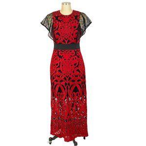 Foxiedox Red Rosabel Dress Embroidery Midi Sheath